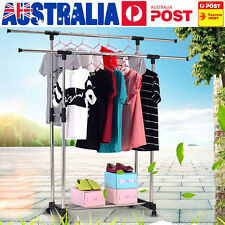 Adjustable Double Clothes Rail Hanger Drying Garment Stand On Wheels + Shoe Rack