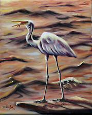 Original Oil Painting of Snowy Egret - Breakfast, 8x10in, Framed, Signed