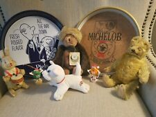 New listing antique lot collection: beer trays, teddy bears, wind-up toy