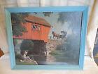 Paul Detlefsen 1966 Cover Bridge print on board in wood frame