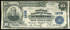 1902 $10 THE HOWARD NB OF BURLINGTON, VT NATIONAL CURRENCY CH. #1698