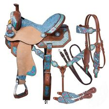"15 Inch MACAELAH Western Barrel Saddle 5 Piece Pkg ""Hand Painted"" Silver Royal"