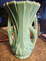 "Rare 12-3/8"" Vase McCoy Pottery Aqua / turquoise green double handle reed strap"