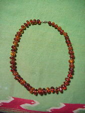 Antique OLD NATURAL AMBER NECKALCE with Sterling Silver Clasp 19 inch