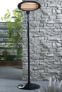 🔥Black Standing Oval Patio Garden Heater Adjustable Height ✅Free P&P🚚