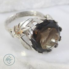 Vintage Sterling Silver | MEXICO Round Cut Smoky Quartz Leaves 8.4g | Ring (7)