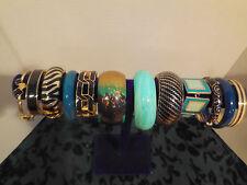 Vtg Wide Teal Aqua Blue Black Rhinestone Enamel Bangle Bracelet Jewelry Lot B12