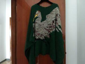 Poncho in lana Stefanel verde bottiglia con motivo decorativo. Caldo e morbido!