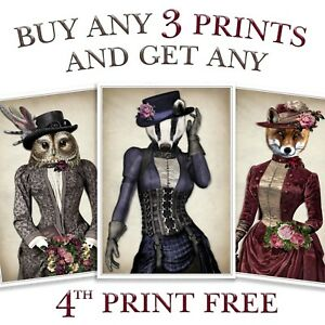 FOX HARE STAG OWL BADGER DRESSED ANIMAL VINTAGE PRINT STEAMPUNK WALL ART PICTURE