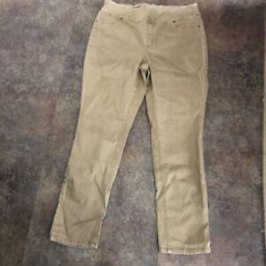 Chicos Perfect Stretch Jeans Size 2 Gold Denim Bootcut Leg Sz L Pull On