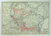 Baltimore & Ohio Railroad - Original 1931 Map by Poor's Publishing Co. Vintage