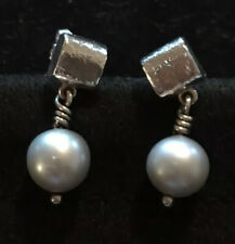 James Avery Gray Pearl Textured Hammered Square Earrings Ear Posts Retired