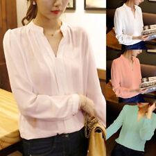 Women Long Sleeve V-Neck Loose Long Chiffon Blouse Casual Shirt Office Lady Tops
