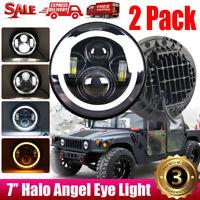 "2Pcs 7"" Inch Round LED Halo Angel Eyes Headlights For Jeep Wrangler TJ/LJ/CJ/JK"