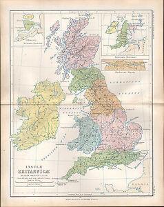 1864 VICTORIAN ANCIENT MAP ~ BRITANNIA PTOLEMAEI  FLAVIA VALENTIA HADRIANS WALL