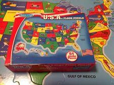 Melissa & Doug 51 JUMBO FLOOR PUZZLE Easy Clean Pieces Extra Large 2x3 Feet EUC