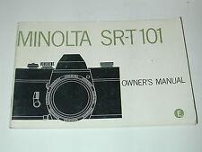 NOTICE MINOLTA SRT 101 en ANGLAIS  photo photographie