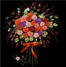 Ribbon Embroidery Kit Bunch of Flowers Rose + Video Tutorial in YouTube RE1002