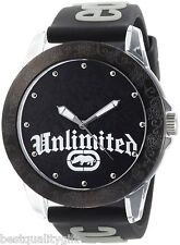 NEW-MARC ECKO UNLIMITED BLACK SILICONE BAND+CLEAR ENGRAVED DIAL WATCH-E09520G1