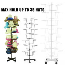 Rotating Hanger Rack 7 Tier Metal Hat Cap Display Floor Stand w/4 Wheel Retail