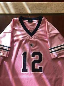 Pink Dallas Cowboys Authentic Apparel #12 Cowboys Jersey, Size 12/14