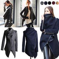 Womens Winter Warm Trench Coat Long Wool Jacket Outwear Irregular Parka Cardigan
