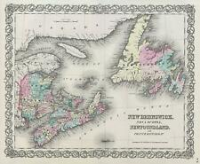1856 Colton Map of Canada's Maritme Provinces