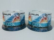 100 Philips 52X Speed 700 MB80 MIN Blank CD CD-R Discs for Digital Media - New