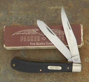 PARKER FROST USA 1978 BLACK SAWCUT SLIM LINE TRAPPER KNIFE 1978-10