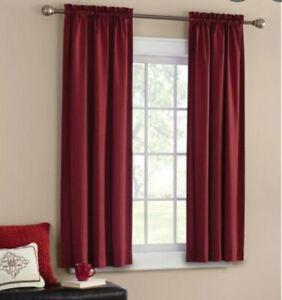 Mainstays Curtain Room Darkening Panel Pair Red, Brick Printed Texture 63 inch