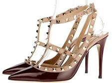 NEW VALENTINO GARAVANI ROCKSTUD T-STRAP LEATHER PUMPS HEELS SHOES 38.5