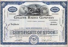 Collins Radio Company Stock Certificate Rockwell Cedar Rapids Iowa Blue