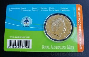 Badminton - 50c Australian Coin 2006 Melbourne Commonwealth Games UNC in Card