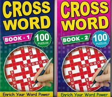 Set of All 4 Slim Adult Crossword Puzzle Books 100 Each Travel Brain Game 4115