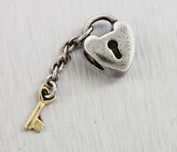 Authentic Pandora 14K Yellow Gold Sterling Silver Key To My Heart Dangle Charm
