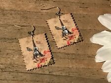 Handmade Wood Jewelry, Stamp Earrings Dangling w/Crystals