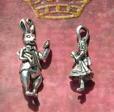 White Rabbit & Alice in Wonderland Large PENDANT size Charms D.I.Y. Silver Finis