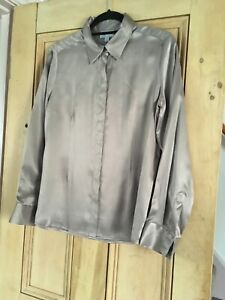Pure Collection 100% Silk Shirt Taupe, Size 14 - Never Been Worn