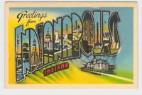 BIG LARGE LETTER VINTAGE POSTCARD GREETINGS FROM INDIANA INDIANAPOLIS #2