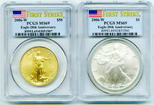 2006 W $50 20TH ANNIVERSARY PCGS GOLD & SILVER EAGLE 2 COIN FIRST STRIKE SET