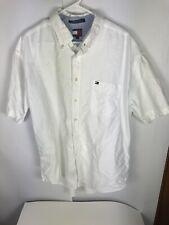 Tommy Hilfiger White Short Sleeve Flag Button Down Shirt Men's Size XL