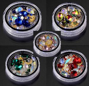 """""""Box Of Treasure"""" 3D Nail Art Gems Rhinestones Caviar Crystals Craft DIY Kit UK"""