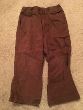 GYMBOREE AVIATOR ~ Boys Size 4 Linen Pants ~ Brown ~ Adjustable Waist