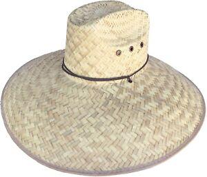 "Headchange 7"" Extra Wide Brim Lifeguard Straw Hat Mexican Palm Beach Sun Garden"
