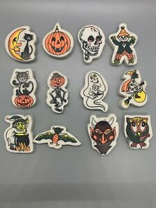 VINTAGE LOT 16 Applause ERASERS HALLOWEEN Ghost Devil Witch Owl Cat Skull 80s