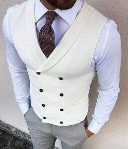 Men's Iovry Double Breasted Formal Business Waistcoat Slim Fit Casual Vest