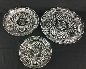 Vintage Set of 3 Clear Decorative Glass Relish Condiment Nut and Serving Dishes