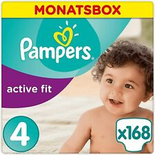 Pampers Active Fit Windeln Monatsbox, Größe 4, 8-16kg, 168 Windeln