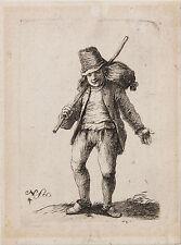 Adriaen Van Ostade (manner of)-THE TRAVELER/Vintage Etching, c. 17th Century (?)