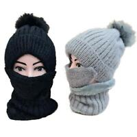 Winter Womens Ladies Wooly Thick Knit Hat And Scarf Set knitted Woollen Warm UK